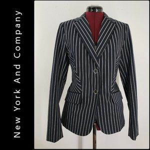 New York And Company Woman Stripe Blazer Suit 8